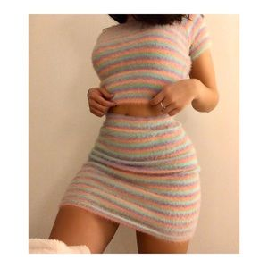 Striped matching crop top and skirt set